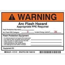 Brady Part 121101 Warning Preprinted Arc Flash Labels Hazard Category 3 Warning Arc Flash Label Template