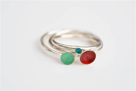 silver stacking enamel rings by kate holdsworth designs