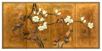 Love birds on traditional gold leaf asian artwork by oriental