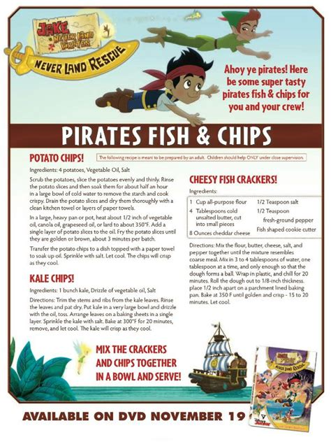 printable disney recipe cards disney jake and the neverland pirates recipe pirates
