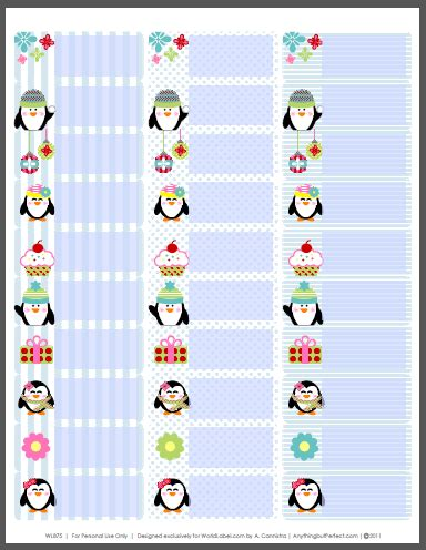 holiday labels set  penguins  anythingbutperfectcom