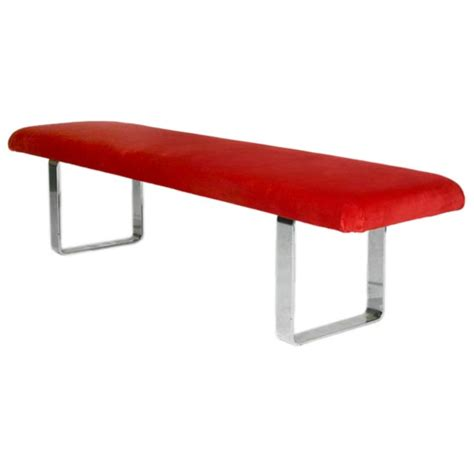 Swedish Settee Red Velvet Bench With Heavy Chrome Curved Legs At 1stdibs