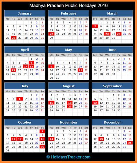 App State Calendar Madhya Pradesh India Holidays 2016 Holidays Tracker