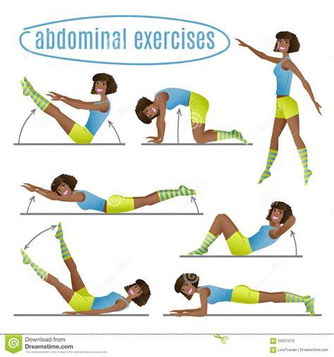 set  exercises woman  abdominal exercises stock
