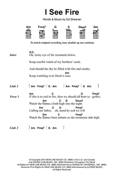 ukulele tutorial ed sheeran i see fire from the hobbit sheet music by ed sheeran