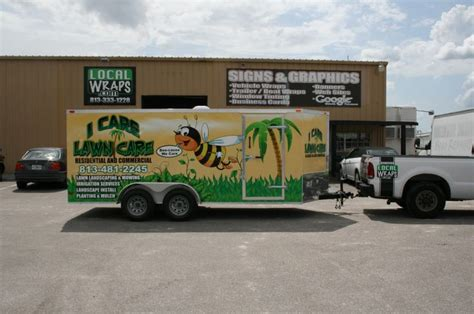 i care lawn care trailer wrap business logos and names