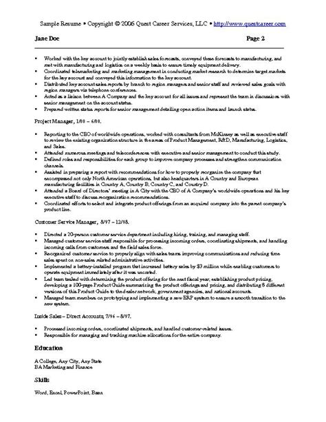 marketing resumes sles sle resume exle 4 sales and marketing resume