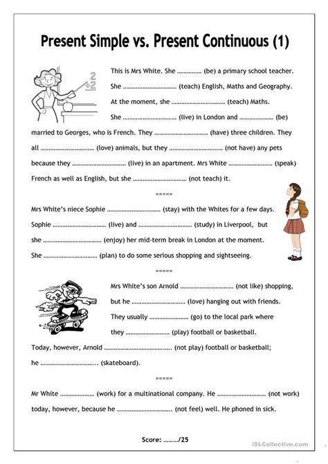 Present Progressive Worksheet by No Frills Worksheet For All Ages Present Simple Vs