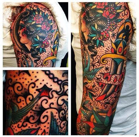 tattoo ann arbor american traditional sleeve school arm