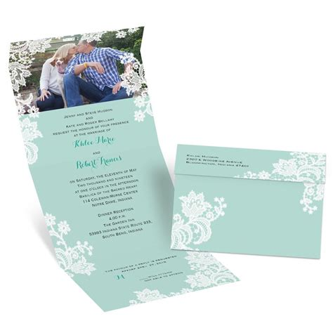 lacy layer seal and send invitation s bridal bargains - Seal And Send Wedding Invitations With Photo