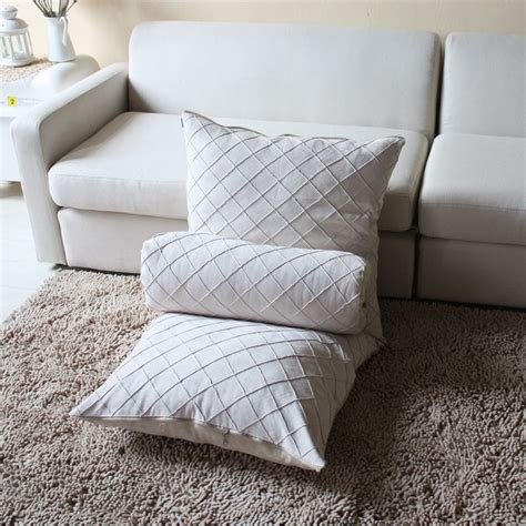 How To Wash Suede Cushion Covers by 2014 Suede Fabric White Plaid Cushion Covers 60cm Sofa