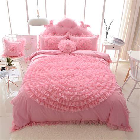 Bed Cover Wedding Import 3 big lace flower princess bedding set