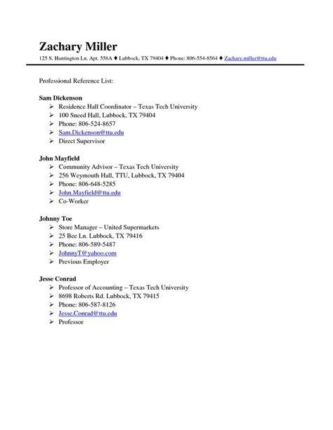 Exle Resume Reference Sheet Professional References Page Template Http Www
