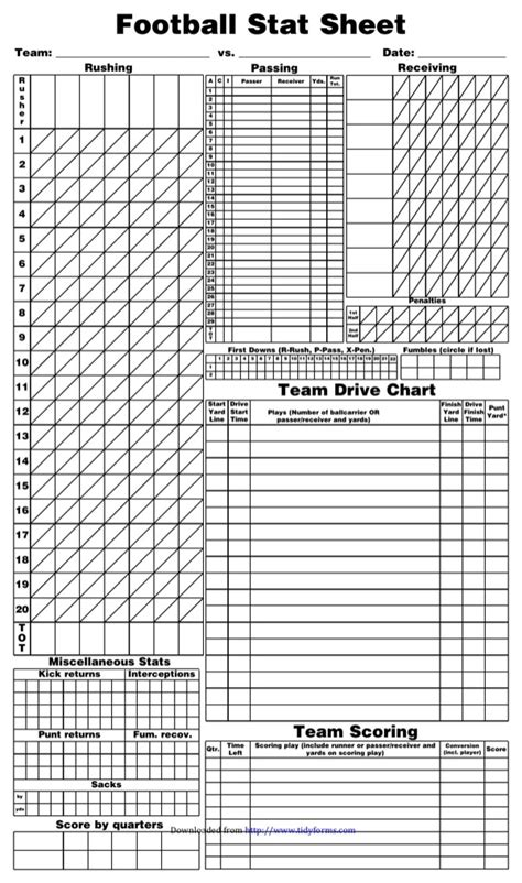 football score sheet blank football scoresheet for free formtemplate