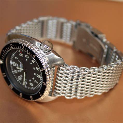 Seiko 5 Bracelets 22mm 22mm shark mesh bracelet band diver s s steel suits