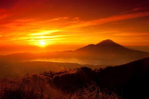 wallpaper sunrise dawn mountains  nature