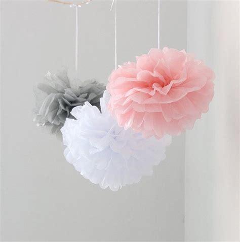 Pom Poms Baby Shower by 12pcs Mixed Pink Gray White Tissue Paper Flower Pom Poms