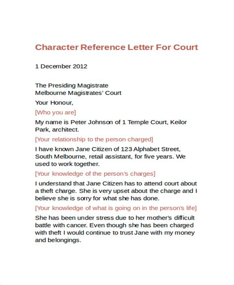 exles of letters of character reference for court