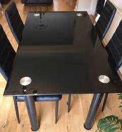 black glass dining table and black glass dining table with 4 chairs 163 20 00 picclick uk