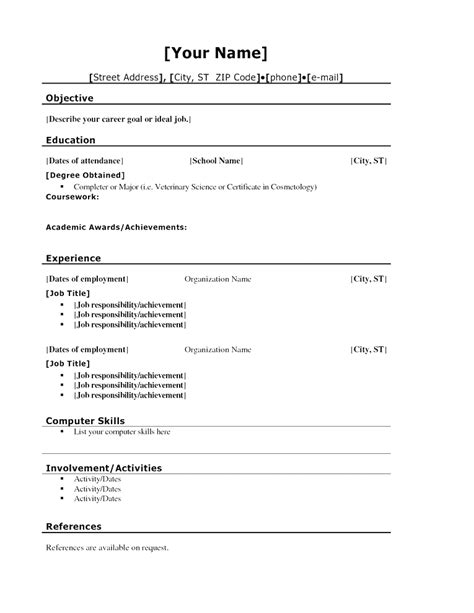 standard resume templates print basic resume template for highschool students resume