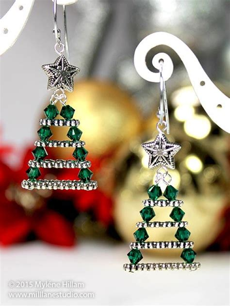 evergreen christmas tree earrings allfreejewelrymaking com