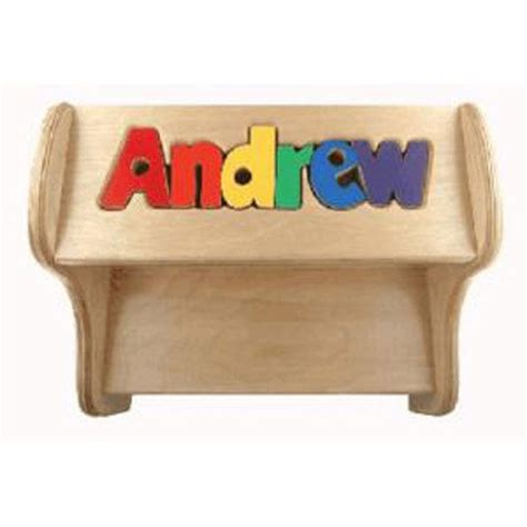 Wooden Puzzle Step Stool quot step lively quot personalized wooden puzzle name step stool