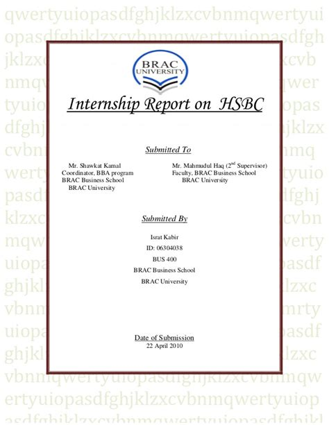 cover letter for hsbc internship internship report on expansion strategy of hsbc in bangladesh