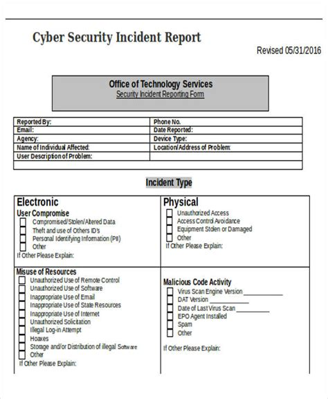 it issue report template problem report template cyber security incident report