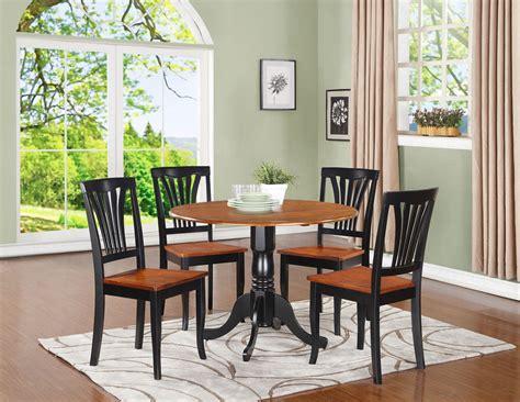 """5pc dinette set 42"""" round drop leaf kitchen table   4 Avon"""