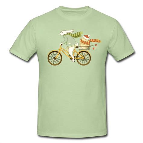 Handcrafted T Shirts - custom shirts images bicycle bunny in winter easter