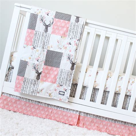 Girl Crib Bedding Coral Taupe Woodlands Baby Bedding Deer Woodland Nursery Bedding Set