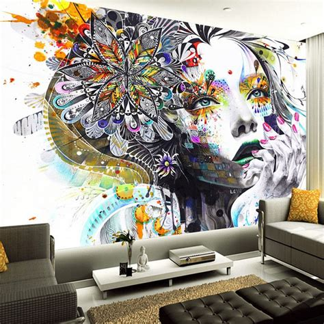 custom mural wallpaper color hand painted abstract