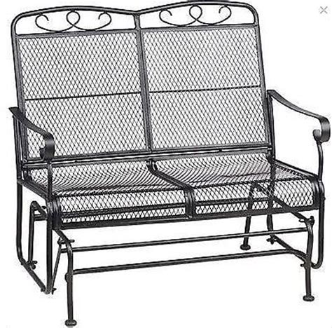wrought iron glider bench patio glider outdoor swing wrought iron mesh furniture 2