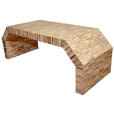 Bone Inlay Coffee Table Inlaid Bone Veneer Angled Waterfall Coffee Table At 1stdibs