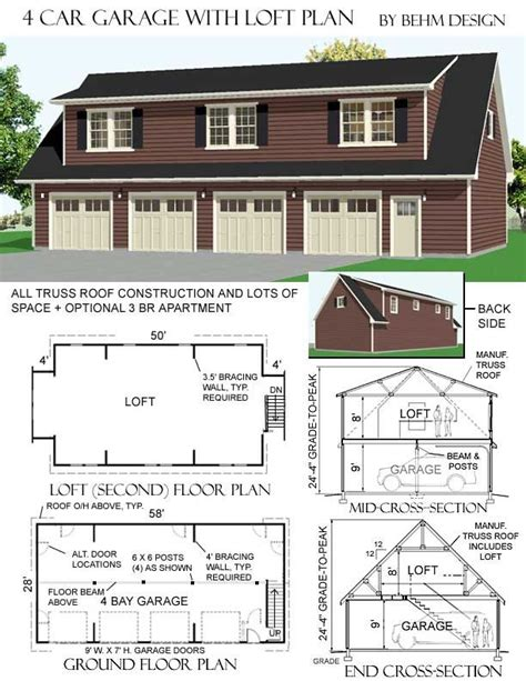 4 car garage plans 4 car garage with loft plans has optional 2 br apartment