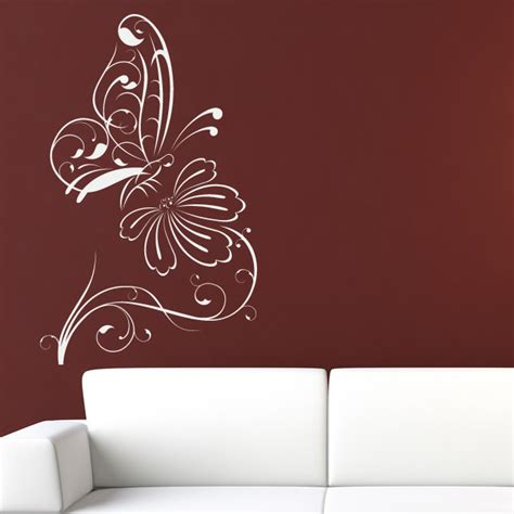 butterfly and flower wall stickers butterfly on flower outline floral wall decal wall stickers transfers ebay