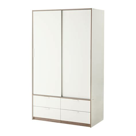 ikea sliding wardrobe trysil wardrobe w sliding doors 4 drawers white 118x61x202