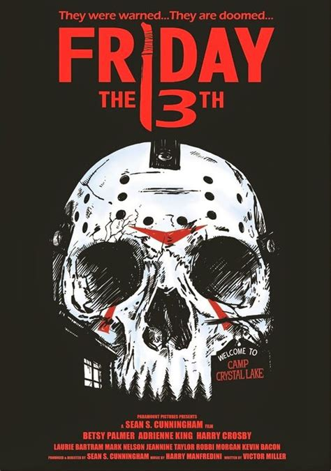 film seri friday the 13th friday the 13th part of skull inspired horror movie poster