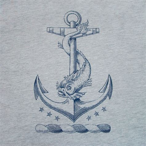 anchor t shirt nautical dolphin vintage tattoo by