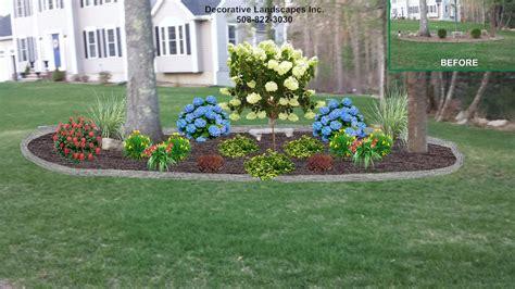 front yard island landscape bed design lakeville ma