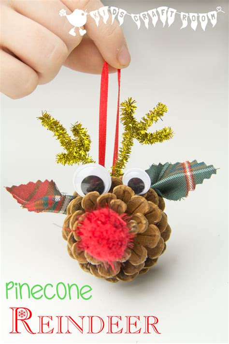 childrens handmade ornaments pinecone reindeer ornaments craft room