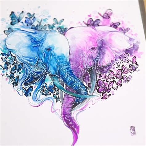 elephant couple tattoo purple and blue watercolor elephant