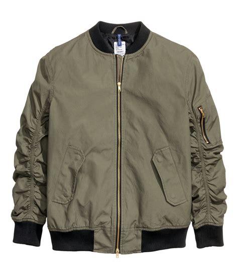 Jaket Bomber H M h m bomber jacket in green for lyst