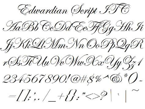 tattoo fonts edwardian script edwardian script itc fantasie stenciling