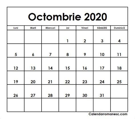 calendar octombrie  calendarul romanesc printabil