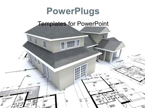 Powerpoint Template Grey Building Over Architectural Blueprint And Plan 2044 Building Powerpoint Templates