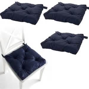 set of 4 navy blue chair cushions pads machine washable