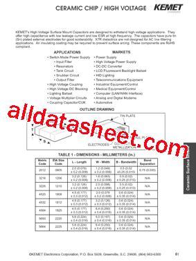kemet capacitors datasheet c1812c100ccgac datasheet pdf kemet corporation