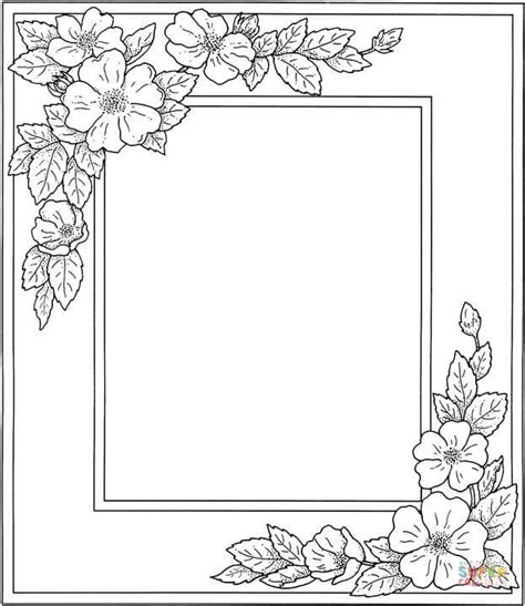 printable paper photo frames photo frame with flowers coloring page free printable