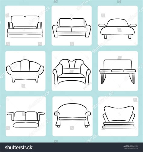 Sketch Sofa Chair by Sketch Chair Icons Set Sofa Set Stock Vector 186065897